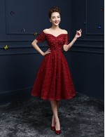 New Zealand Cocktail Party Dresses Prom Dress A Line Off The Shoulder Tea Length Lace With Appliques Sequins