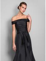 New Zealand Formal Evening Dress Black Tie Gala Dress Open Back Plus Size Petite Trumpet Mermaid Off The Shoulder Sweep Brush Train Taffeta With