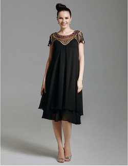 New Zealand Cocktail Party Dresses Prom Gowns Holiday Dress 1920s Plus Size Petite Sheath Column Scoop Short Knee Length Chiffon Tulle With Beading