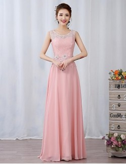 Prom Gowns New Zealand Formal Evening Dress A Line Jewel Long Floor Length Chiffon Lace With Appliques Beading Flower