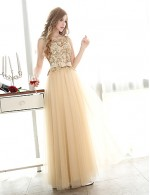 New Zealand Formal Evening Dress A Line Bateau Long Floor Length Tulle Dress With Appliques Beading Sash Ribbon