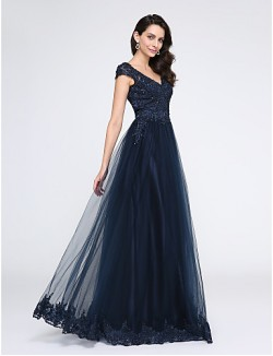 New Zealand Formal Evening Dress A Line V Neck Long Floor Length Tulle Dress With Appliques Beading