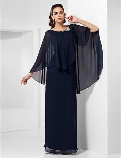 New Zealand Formal Evening Dress Military Ball Dress Plus Size Petite Sheath Column Scoop Long Floor Length Chiffon With Beading