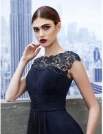 New Zealand Formal Evening Dress Black Tie Gala Dress A Line Bateau Long Floor Length Georgette With Draping Lace
