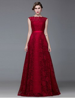 New Zealand Formal Evening Dress A Line Bateau Long Floor Length Lace Dress Satin With Lace Sash Ribbon