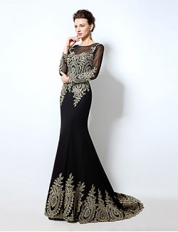 New Zealand Formal Evening Dress Trumpet Mermaid Off The Shoulder Sweep Brush Train Chiffon With Appliques