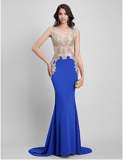 New Zealand Formal Evening Dress Black Tie Gala Dress Sexy See Through Beautiful Back Trumpet Mermaid Square Sweep Brush Train Jersey With