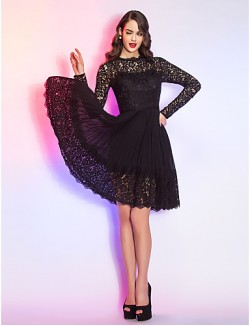 New Zealand Cocktail Party Dresses Homecoming Holiday Dress Short Plus Size Petite A Line Queen Anne Short Knee Length Chiffon Lace With