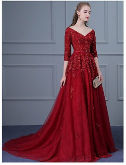 New Zealand Formal Evening Dress Ball Gown V Neck Sweep Brush Train Tulle With Appliques Beading Sash Sequins