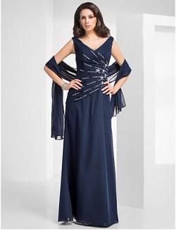 New Zealand Formal Evening Dress Military Ball Dress Elegant Plus Size Petite Sheath Column V Neck Long Floor Length Chiffon With Beading Criss Cross