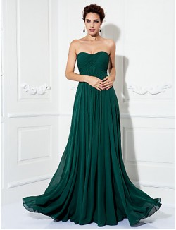 Prom Gowns New Zealand Formal Evening Dress Military Ball Dress Open Back Plus Size Petite A Line Princess Strapless Sweep Brush Train Chiffon