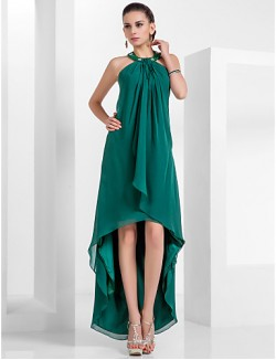 New Zealand Formal Evening Dress Vintage Inspired Plus Size Petite A Line Princess Halter Short Knee Length Asymmetrical Chiffon With Beading