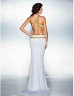 New Zealand Formal Evening Dress Beautiful Back Plus Size Petite Trumpet Mermaid V Neck Sweep Brush Train Jersey With Beading Crystal