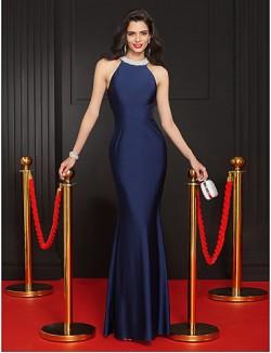 New Zealand Formal Evening Dress Trumpet Mermaid Jewel Long Floor Length Jersey With Beading