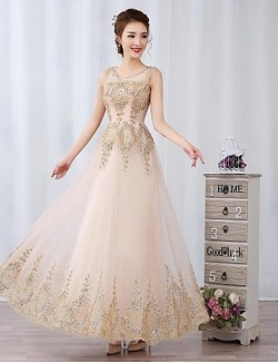 Prom Gowns New Zealand Formal Evening Dress Ball Gown Scoop Long Floor Length Tulle Dress With Appliques Beading Sequins
