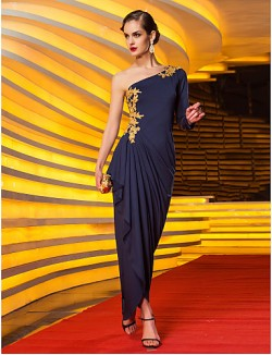 New Zealand Formal Evening Dress Military Ball Dress Elegant Plus Size Petite Sheath Column Sexy One Shoulder Long Floor Length Jersey With Appliques