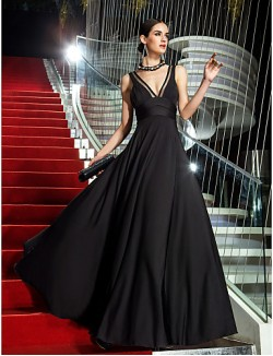 New Zealand Formal Evening Dress Military Ball Dress Vintage Inspired Plus Size Petite A Line V Neck Long Floor Length Jersey With Side Draping