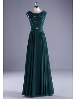 New Zealand Formal Evening Dress Ball Gown Scoop Long Floor Length Chiffon Lace Charmeuse With Beading Lace Pearl Detailing