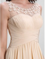 2017 New Zealand Formal Evening Dress A Line Scoop Long Floor Length Chiffon With Flower Draping Criss Cross