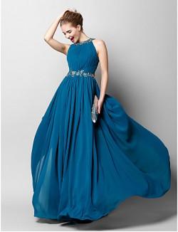 New Zealand Formal Evening Dress Sheath Column Jewel Long Floor Length Chiffon With Appliques Beading Draping Side Draping