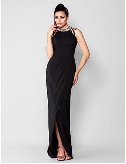 New Zealand Formal Evening Dress Black Tie Gala Dress Plus Size Petite Sheath Column Jewel Asymmetrical Chiffon With Beading Crystal Detailing