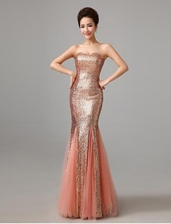 New Zealand Formal Evening Dress Trumpet Mermaid Strapless Long Floor Length Sequined With Sequins