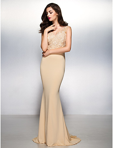 New Zealand Formal Evening Dress Beautiful Back Trumpet Mermaid V Neck Sweep Brush Train Lace Jersey With Lace