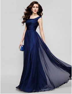 Homecoming New Zealand Formal Evening Dress Holiday Dress Plus Size Petite A Line Princess Scoop Long Floor Length Chiffon With Ruching Criss Cross