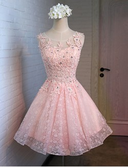 New Zealand Cocktail Party Dress A Line Scoop Short Knee Length Lace Satin Tulle With Lace Ruffles Sequins