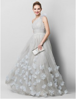 New Zealand Formal Evening Dress A Line Sexy One Shoulder Sweep Brush Train Tulle With Flower Criss Cross