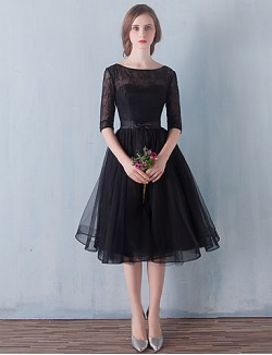New Zealand Cocktail Party Dresses Prom Dress Little Black Dress A Line Scoop Short Knee Length Tulle With Bow Lace