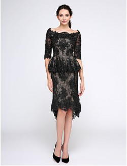 New Zealand Cocktail Party Dresses Homecoming Prom Dress Sheath Column Bateau Short Knee Length Lace With Appliques