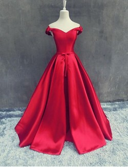 New Zealand Formal Evening Dress A Line Off The Shoulder Long Floor Length Satin With Bow