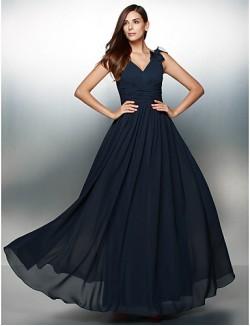 New Zealand Formal Evening Dress A Line V Neck Long Floor Length Chiffon With Flower