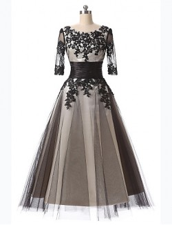 New Zealand Cocktail Party Dresses Prom Dress A Line Scoop Tea Length Lace With Appliques Embroidery Lace
