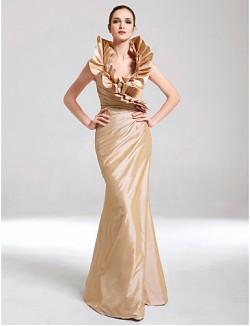 New Zealand Formal Evening Dress Military Ball Dress Elegant Plus Size Petite Trumpet Mermaid V Neck Long Floor Length Taffeta WithRuffles Side