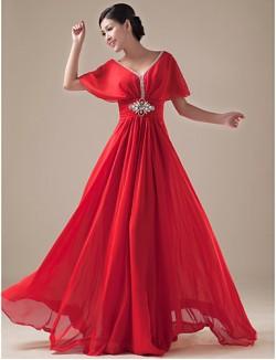 New Zealand Formal Evening Dress A Line V Neck Long Floor Length Chiffon Satin With Beading