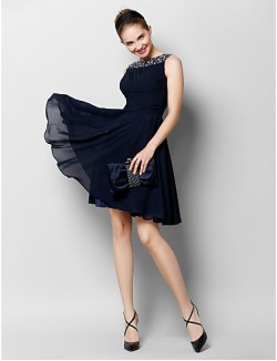 New Zealand Cocktail Party Dress A Line Bateau Short Knee Length Chiffon With Beading Draping Ruching