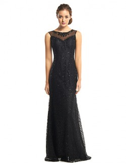 New Zealand Formal Evening Dress Trumpet Mermaid Scoop Long Floor Length Tulle Dress Sequined With Beading Sequins
