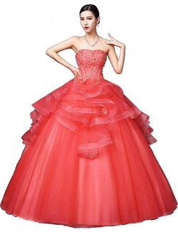 New Zealand Formal Evening Dress Ball Gown Strapless Long Floor Length Satin Tulle Stretch Satin With Crystal Detailing Lace