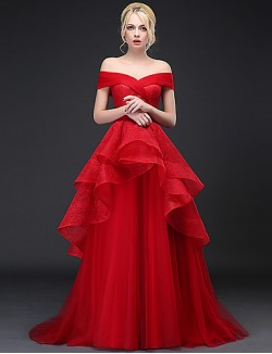 New Zealand Formal Evening Dress A Line Off The Shoulder Sweep Brush Train Lace Tulle With Lace
