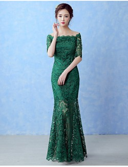 New Zealand Formal Evening Dress A Line Bateau Long Floor Length Lace Dress With Lace