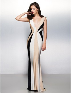 New Zealand Formal Evening Dress Trumpet Mermaid V Neck Sweep Brush Train Jersey With
