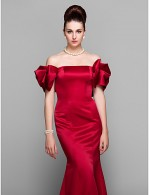 New Zealand Formal Evening Dress Plus Size Petite Trumpet Mermaid Off The Shoulder Court Train Satin With