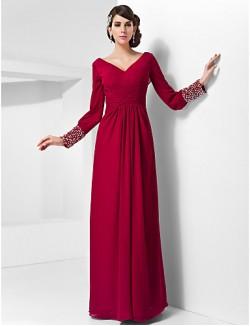 New Zealand Formal Evening Dress Military Ball Dress Elegant Plus Size Petite Sheath Column V Neck Long Floor Length Chiffon With Beading Buttons
