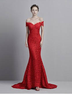 New Zealand Formal Evening Dress Trumpet Mermaid Off The Shoulder Court Train Lace With Buttons