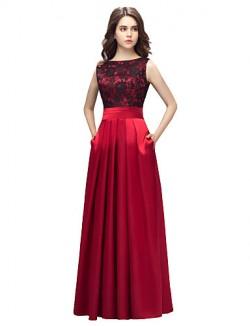New Zealand Formal Evening Dress Sheath Column Bateau Long Floor Length Lace Dress Charmeuse With Lace Pockets