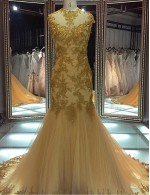 New Zealand Formal Evening Dress Trumpet Mermaid Jewel Court Train Lace Tulle With Appliques Beading Lace Sash Ribbon Sequins