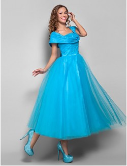 New Zealand Cocktail Party Dresses Homecoming Holiday Dress Vintage Inspired 1950s Plus Size Petite Ball Gown Straps Tea Length Tulle With Ruching