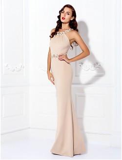 New Zealand Formal Evening Dress Black Tie Gala Dress Beautiful Back Plus Size Petite Sheath Column Jewel Long Floor Length Jersey With Beading